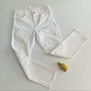 H&M White Denim Jeans Sz 10 Hi Rise Skinny Ankle